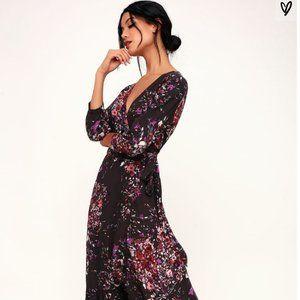 Dark Purple Floral Print High-Low Wrap Dress